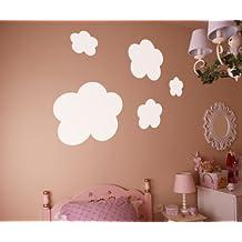 Vinilos decorativos de nubes 38x38 cms Blanco
