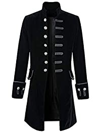 FUNOC Men's Steampunk Vintage Tailcoat Jacket Gothic Victorian Coat Tuxedo Uniform Halloween Costume