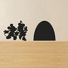 "Mickey y Minnie Mouse de la Casa Adhesivo decorativo para pared, vinilo, negro, 6.5""w x2.5""h"