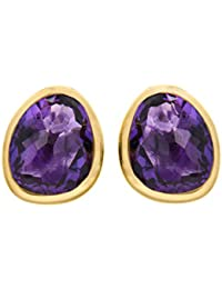 Missoma 18ct Gold Plated 'Athena' Stud Earrings with Amethyst