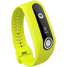 Correa de silicona de repuesto para pulseras de actividad TomTom Touch Cardio (pequeña y grande), color amarillo
