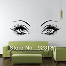 Large Woman Sexy Eyes and Girly Eyelashes Wall Art Stickers Decal DIY Home Decoration Wall Mural Removable Room Stickers 155x45 by HomeDecor69