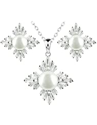 Le Premium® 925Plata de ley de Edelweiss de flores naturales de Juego de joyas de perlas de agua dulce colgante de collar y pendientes de Perno