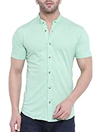 GRITSTONES Men's Plain Regular Fit Casual Shirt (GSHSSHT1643LGRN_Light Green_Large)