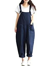 aa15dbb9a66 Helisopus Women s Plus Size Linen Overalls Baggy Adjustable Strap  Sleeveless Jumpsuits Casual Loose Wide Leg Dungarees