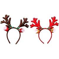 Lurrose 2 piezas diademas de navidad cornamentas de renos diademas fiesta de navidad tocado campana reno orejas aro de pelo para mujeres niños niñas