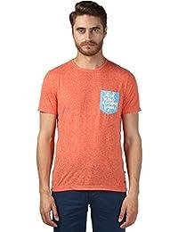 Park Avenue Regular Fit Crew Neck Half Sleeve Medium Orange Cotton Blend Printed T-Shirt for Men