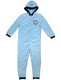 Boys Official Man City MCFC Hooded Fleece Zipper Sleepsuit Onesie Romper Sizes From 3 To 12 Years
