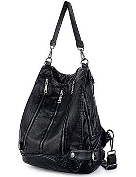 UTO Damen Handtasche PU Leder Backpack Purse Rivet Studded PU Schultertasche schwarz