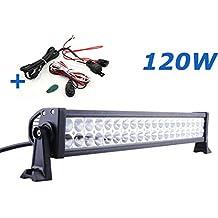 120W/180W/240W/300W LED barra de luz trabajo Spot Flood Combo FOCO 12V 24V Light Bar vehículos todoterreno coche camión ATV(120)