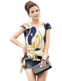 Imixcity Women's Vintage Blouse Chiffon Printed Short Sleeve Casual T-shirt Tops