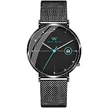 Welly Merck Reloj Analógico para Hombre Cuarzo Suizo Pulsera con Acero Negro WM-C20M242