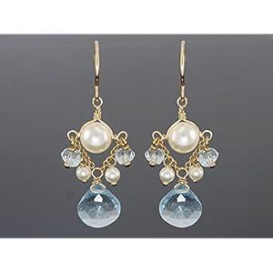 Blaue Topas und vegane Perlen Ohrringe Brautschmuck
