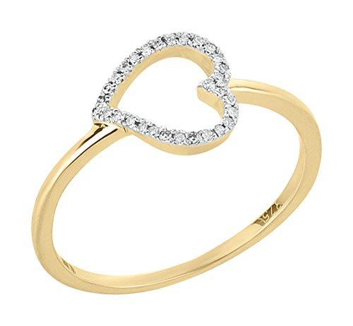 Ardeo Aurum Damenring aus 375 Gold Gelbgold mit 0,04 ct Diamant Brillant Herz-Ring Herzchen-Form