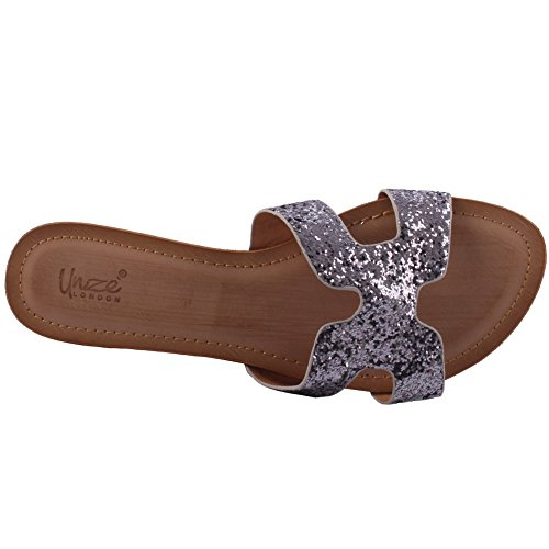 Unze New Women 'Keith' Open Toe Glittered Slider Sandales Summer Beach Party Get Together School Carnaval Casual Chaussons Pantoufles Grande-Bretagne Taille 3-8 Gris