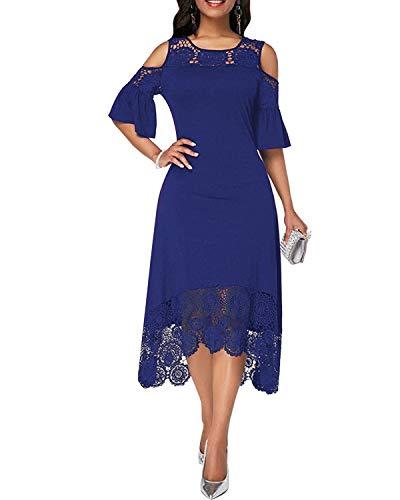 ABYOXI Damen Schulterfrei Blumen Spitzenkleid Partykleid Asymmetrisches Einfarbig Cocktail Abendkleid Marine Blau L - Marine-blau-cocktail