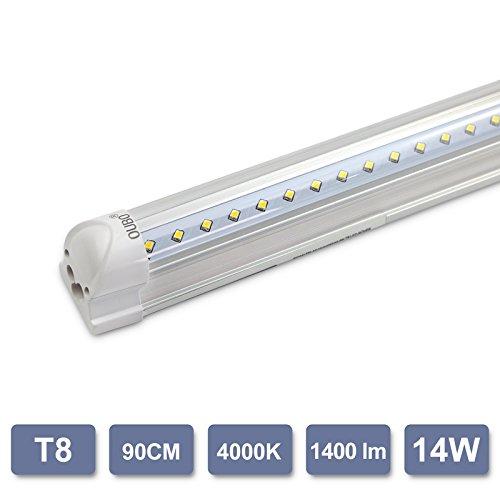 T8 Deckenleuchte (OUBO 90cm LED Leuchtstoffröhre komplett Set mit Fassung Neutralweiss 4000K 14W 1400lm Lichtleiste T8 Tube Deckenleuchte)