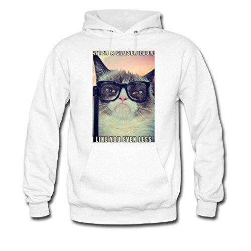 HGLee Printed Personalized Custom Cat Wearing Glasses Women's Sweatshirts Hooded Hoodies White--3
