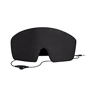AGPTEK Schlafmaske mit Integriertem Kopfhörer für Smartphone, Tablet, MP3 Player für Schlaflosigkeit, Reise, Entspannend usw, Schwarz