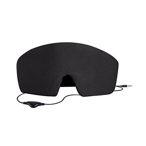 AGPTEK Schlafmaske mit Integriertem Kopfhörer für Smartphone, Tablet, MP3 Player für Schlaflosigkeit, Reise, Entspannend usw, Schwarz -
