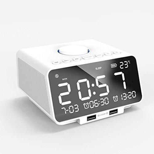 Unbekannt GAODUZI Musik Wecker Bluetooth Lautsprecher Radio Nachtlicht Lade Uhr Kalender Klingeltöne (Farbe : Weiß)
