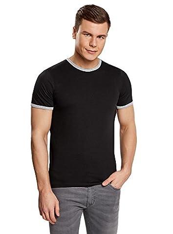 oodji Ultra Homme T-shirt Droit à Finition Contrastante, Noir, FR 52-54 / L