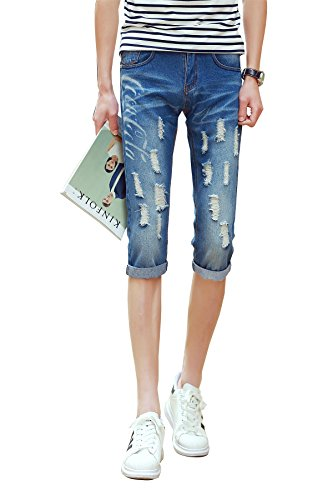 Mens Stretch Cotton Pirate Short Jeans Stone Washed (44,Blu chiaro)