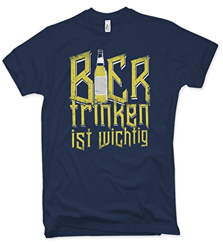 T-Shirt Bier Trinken ist Wichtig Witziges Funshirt für Bierliebhaber (Distressed Bier)