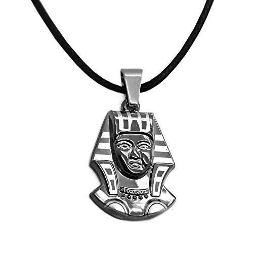 Collar de cuero con colgante de acero inoxidable Egipto máscara de la muerte
