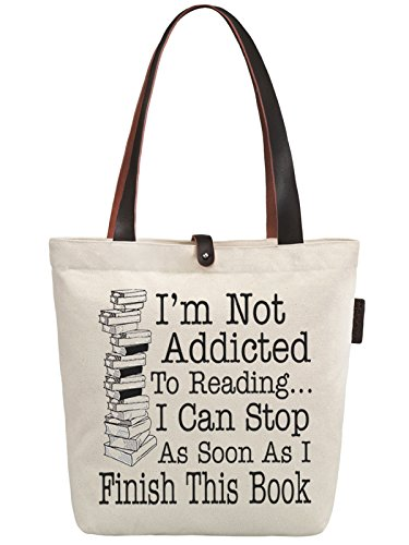 New York-frauen-handtaschen (So'each Women's Finish Books Letters Graphic Top Handle Canvas Tote Shoulder Bag)