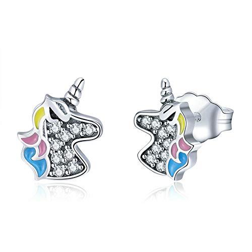 Thwjsh orecchini in argento sterling 925 con unicorno placcato orecchini in platino lucido da donna \unici come te\ orecchini da donna