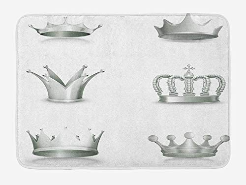 Trsdshorts Grey Bath Mat, Different Kinds of Antique Crowns Queen King Imperial Theme Vintage Symbol, Plush Bathroom Decor Mat with Non Slip Backing, 23.6 x 15.7 Inches, Pale Green and White