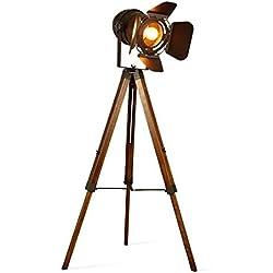 Lámpara de Pie Proyector Trípode Diseño Foco Cinema Vintage madera metal