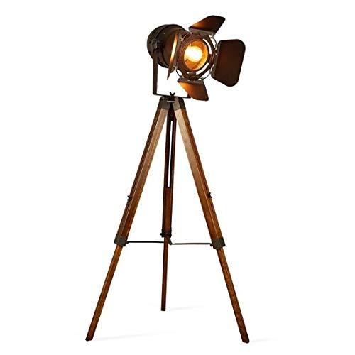 BarcelonaLED Lámpara de Pie Proyector Trípode Diseño Foco Cinema Vintage Madera y Metal Estilo Retro - LV234