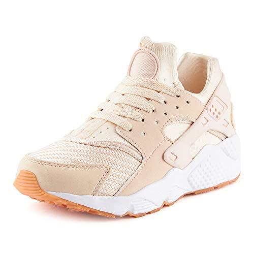 Fusskleidung Damen Sneaker Sportschuhe Textilschuhe Strick Laufschuhe Schnürschuhe Gym Low-Top Schuhe Pink EU 38
