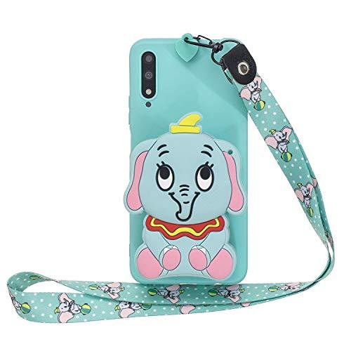 Miagon Silikon Hülle für Huawei Honor 9X,3D Süß Brieftasche Lager Tasche Design mit Halskette Kordel Schnur Handykette Necklace Band,Blau Elefant