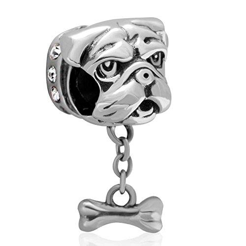 Plata de Ley 925soulbead Shar-Pei con cristales de Australia de hueso de perro colgantes compatible con las principales marcas pulsera europea
