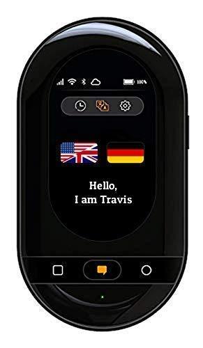 Travis Touch Plus - Intelligenter Sprachübersetzer mit 105 Sprachen, Touchscreen, 4G LTE, Hotspot & Kabelloses Aufladen (Schwarz)
