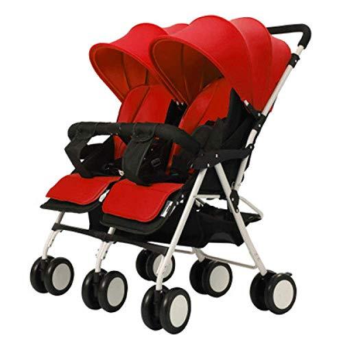 WJSWYE Zwillingswagen Kinderwagen Tandem Buggy Neugeborener Kinderwagen Ultraleicht faltender Kind-Stoßdämpfer-Wagen kann halb liegend 0-3 Jahre alt- Höchstlast 50kg,red