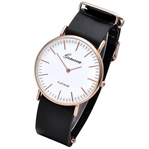 Orologi JSDDE, Ginevra Casual orologio Classic uomo e donna in pelle da polso al quarzo Analog caratteristiche (marrone scuro)