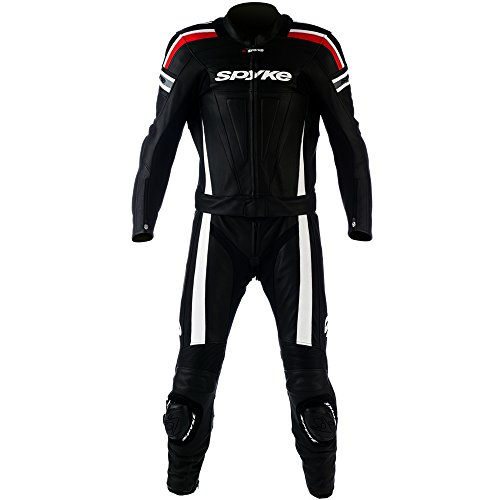 mono de piel para moto hombres ,Spyke Kaver DIV Man (52, Negro/Blanco/Rojo)