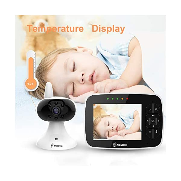 """MiniBoss Baby Monitor with Camera Video Audio Monitor 3.5"""" LCD Screen Temperature Sensor Night Vision Lullaby Two-Way Talk  【Wireless & Secure Connection】The baby monitor equipped with 2.4GHz digital frequency provides security and interference-free connection without any network access. 【Upgraded Camera & VOX Function】The video baby monitor offer high definition and stable audio video streaming to last 7 hours per fully charged. It covers a long distance transmission range of up to 960 feet, and expandable up to 4 cameras for simultaneous monitoring. 【Two-way Talk & Lullabies】The audio baby monitor has advanced built-in microphone and speaker for clear two-way audio conversations between the wireless monitor and camera sides. Allows you to talk back promptly or play lullabies to soothe baby when she is crying. 12"""