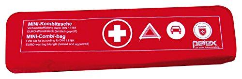 erste hilfe auto set Petex 43999712 Kombitasche p l u s mit Klettband best. aus EURO-Warndreieck, Verbandstofffüllung und Sicherheitsweste, rot