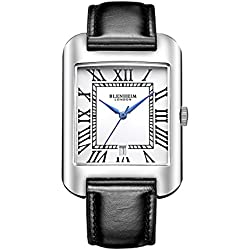 Blenheim London® B3180 Curve Watch White Roman Numeral with Blue Hands with Black Leather Strap