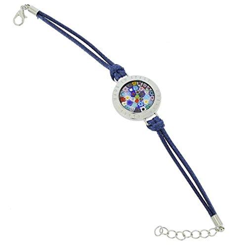 GlassOfVenice Lauretta - Pulsera de Cristal de Murano Millefiori, Color Azul