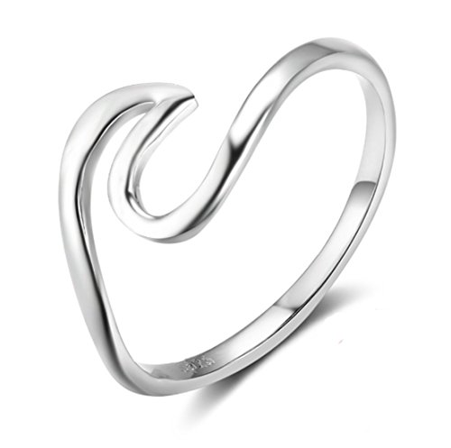 HOMEYU® Chic 925 Sterling Silver Wave Cut Girl Ring