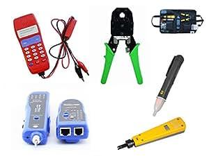 KALEA-INFORMATIQUE © - Kit outils réseau NF1107 - Pour tester et câbler les cordons réseau et téléphonie : testeurs, localisateur, pince, punch tools câbles