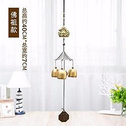 3 campanas de bronce metal Wind chimes Colgante Decoración Hogar Regalos de vacaciones,gran Buda del vientre