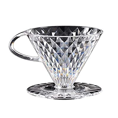 Crystal Coffee Filter,Pour Over Coffee Maker Manually Follicular Coffee Filters Dripper Brewer Reusable Drip Cone Coffee Tea Tools