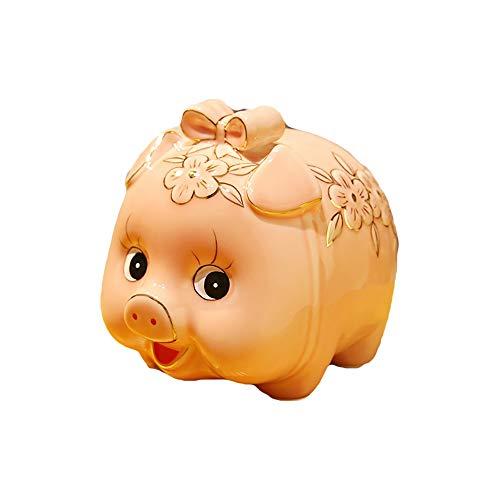 TKHCOLDM Piggy Bank - Erwachsene Kinder Golden Pig Sparschwein Sparschwein Keramik übergroße Schwein Aktivität Geschenk Eröffnung Dekoration, Rosa Schmetterling (Keine Pad) zur Verfügung